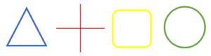 Triangel, fyrfältare, fyrkant, cirkel